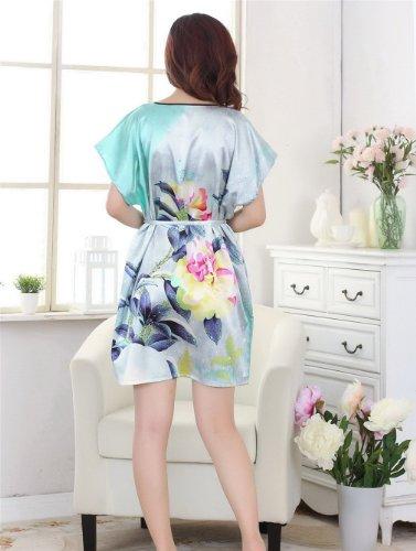 JTC Femmes Robe de Nuit/de Bain/Pyjama, Mancheron/Vêtement de Chambre,en simili soie Pers