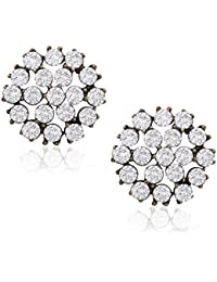 Xcite Floral Stud Earrings With White Stone XER175