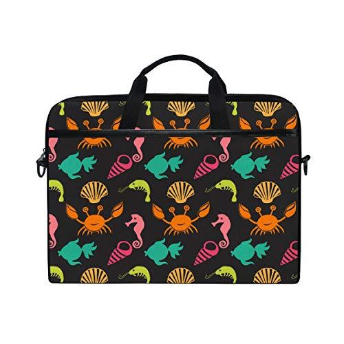 Ahomy 14 Zoll Laptoptasche, nautisches Ozean, Krabbenschale, Shrimp, Fisch, Seepferd, Segeltuch, Laptoptasche, Bussiness Handtasche mit Schultergurt für Damen und Herren