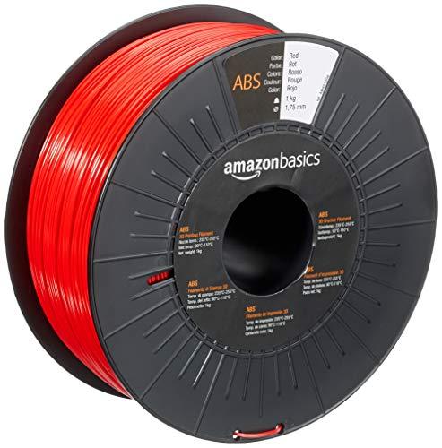AmazonBasics 3D-Drucker-Filament aus ABS-Kunststoff, 1,75 mm, Rot, 1-kg-Spule