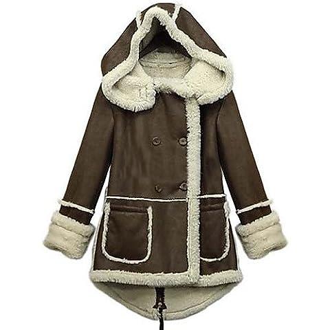 Invierno mujer color marrón sólido abrigos y chaquetas , Sexy / Casual / Trabajo cuello camisero de manga larga,café,XXL