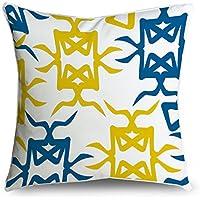 Fabricmcc blu bianco & giallo geometrico floreale Square Accent decorative throw Pillow case cuscino 18x 18