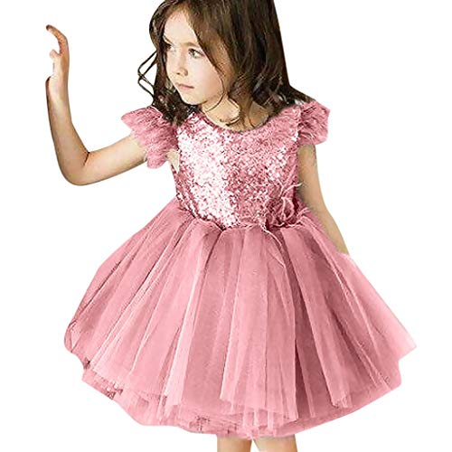 (JiaMeng Kleinkind Kinder Mädchen Ärmellos Tassel Tüll Backless Pailletten Party Prinzessin Kleid)