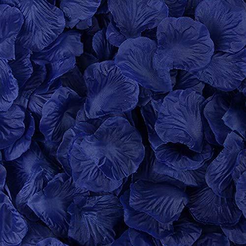 Haobase 1000 pezzi Petali di Rosa in Seta per Decorazione di Matrimonio,Blu scuro