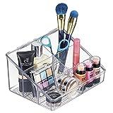 mDesign Porta Trucchi con 6 Scomparti - Organizer Cosmetici per smalti, Rossetti, Make up, profumi, Prodotti per Il Viso, flaconcini - Contenitore Plastica Trasparente