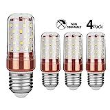 Gezee LED Mais Glühbirnen E27 12W 100W Entspricht Glühbirnen Nicht dimmbar 6000K Kaltweiß 1200lm Kleine Edison-Schraube Kerze Leuchtmittel (4er-Pack)