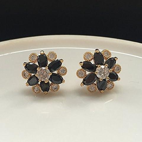 Mode elegante Frauen Gold Silber Zirkonia Blume Ohr Stud Ohrringe, schwarze Marquise CZ