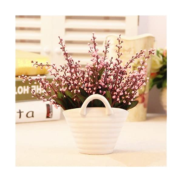 LMYTech Pack of 4 Flores Artificiales Acacia Bean Artificial Flowers 5 Branch 10 Cabezas Ideal para Habitaciones Boda…