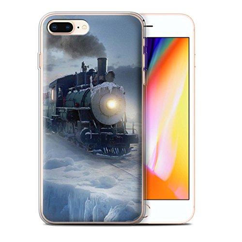 Officiel Elena Dudina Coque / Etui Gel TPU pour Apple iPhone 8 Plus / Ville dans Arbres Design / Fantaisie Paysage Collection Le Polar Express
