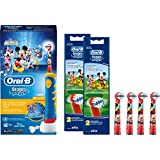 SPAR-SET: Braun Oral-B Stages Power Kids Elektrische Kinderzahnbürste Advance Power Kids 950 mit 5 Stages Power Aufsteckbürsten Micky Maus