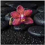 Wallario Glasbild Orchideen-Blüte auf Schwarzen Steinen, benetzt mit Wasser-Tropfen - 50 x 50 cm in Premium-Qualität: Brillante Farben, freischwebende Optik