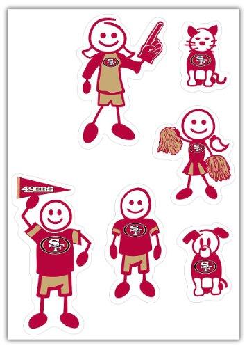 Siskiyou NFL Small Family Aufkleber-Set, Team Colors, 5x7 49ers-pet-set