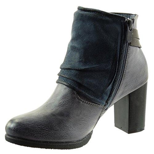 Angkorly - Scarpe Donna Stivaletti - Stivali Da Equitazione - Cavalier - Biker - Classico - Borchiati - Borchiati - Fiocco - Tacco Alto Tanga 7,5 Cm Blu