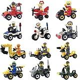 #5: Minifigures Lego-Compatible Set - 12pcs Building Toy Bricks Construction Vehicles with Compatible Minifigures for Kids Party Favors
