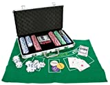Professional 11.5g 300pcs Poker Set inc. Chips, Dice, Dealer Buttons, 2 Card Decks, Poker & Blackjack Mat & Aluminium Carry Case