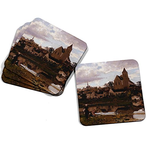 "Image of Big Box Art ""Jacob Maris View at Montigny sur Loing"" Coasters, Multi-Colour, 9 x 9 cm, Set of 4"