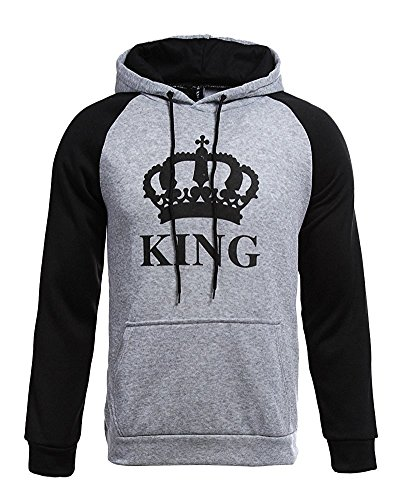 Tomwell King Queen Impression Hoodies Couple Sweatshirt À Capuche Femme Et Homme Manches Longues Pullover Blouse Tops B-King Gris