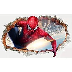 Etiqueta de pared (Spiderman Returns) - pared roto / agujero en la pared / pared despedazada 3D Look - decoración de pared para dormitorio / sala de estar / Kids Room - Pelar y pegar Bricolaje - autoadhesivo vinilo Decal