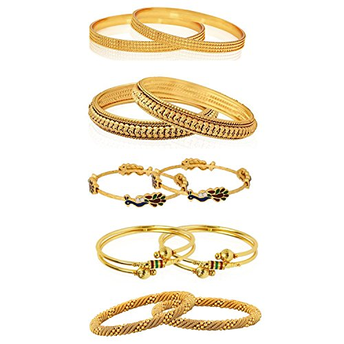 4e28222aac7a3 Valentine Gifts : YouBella Gold Plated Bangles Combo Of 5 Bangles Jewellery  For Girls/Women