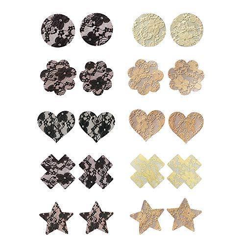 ZEVONDA Copricapezzoli da Donna - 10 paia Cover per Capezzoli in Pizzo Monouso Autoadesivi Invisibili Reggiseno Petali (nero, beige), 10 coppie di stili misti pieno