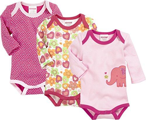 Schnizler Baby-Mädchen Body Langarm, 3er Pack Eule, Oeko-Tex Standard 100, Rosa (Original 900), 74 (Herstellergröße: 74/80)