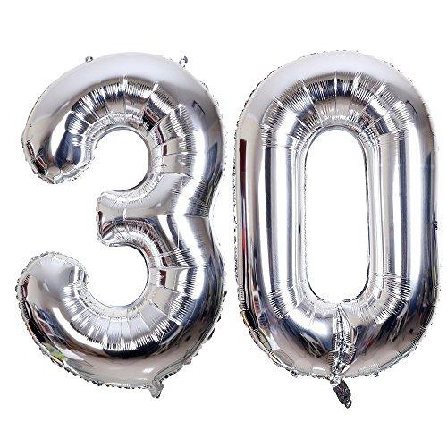 Ouinne Ballon Zahl 30, Helium Folie Luftballon 30 Geburtstag Folienballon Geburtstag Dekoration Set Riesen Folienballon Fur Party (Silber, 40 Zoll)
