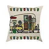 SKYyao Pillowcase Cotton, Fashion RV Pattern Pillowcase Home Sofa Cushion Cover Linen Hold Pillowcase 45 * 45cm