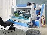 Furnistad Etagenbett Luna | Kinder Stockbett mit Treppe und Bettkasten (Weiß + Blau)