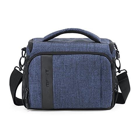 BAGSMART SLR/DSLR Camera Gadget Messenger Bag with Waterproof Rain Cover Blue