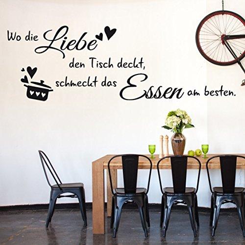 tjapalo® S-TK33 (B 58cm x H 20cm- klein) Wandtattoo Küche Wandaufkleber kochen Esszimmer Wandspruch Spruch ~Wo die Liebe den Tisch deckt, schmeckt das Essen am besten.~ Wandsticker Aufkleber für die Wand Tapetensticker Fliesenaufkleber