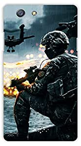 Crazy Beta MILITARY MAN WITH ELERT POSITIONPrinted Back Cover For Oppo Neo 5