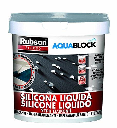 Rubson Aquablock SL3000, silicona líquida impermeabilizante color gris, 5kg