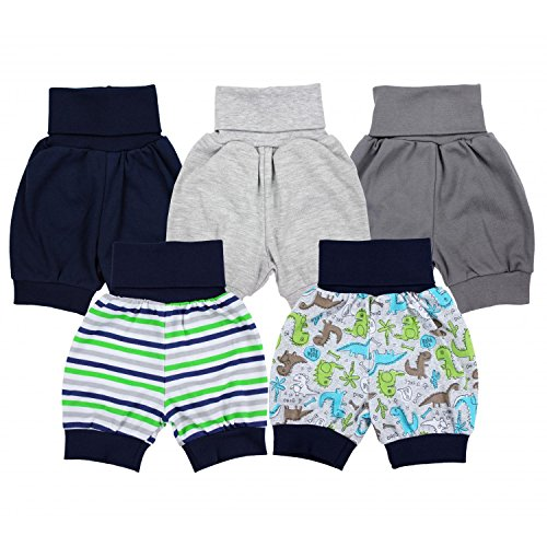 TupTam Unisex Baby Pumphose Sommershorts Baumwolle 5er Pack, Farbe: Junge, Größe: 74/80