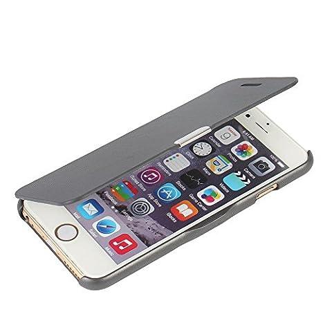 iPhone 6s Plus Hülle, iPhone 6 Plus Hülle, MTRONX™ Magnetisch Dünn Leder Folio Flip Klapphülle Etui Schutzhülle Tasche Case Cover für Apple iPhone 6 Plus iPhone 6s Plus - Grau(MG-GY)