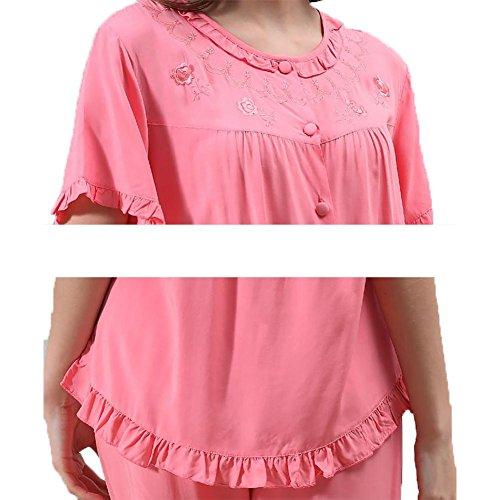 YUYU Frauen Baumwolle Komfortable Kurze Ärmel Nachthemd Hose Weiche Entspannt Nachthemd geringes Gewicht Um den Hals Pyjamas watermelon red