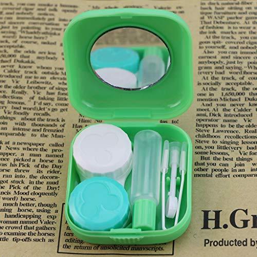 LLLucky Mini Spiegel Kontaktlinsenbehälter Tragbare Auslaufsichere Kontaktlinse Tränkbox Container Kontaktlinsenhalter Travel Kit Fall