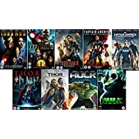 Avengers Ultimate Marvel Comic Heroes All 9 Movies DVD Complete Collection - Iron Man 1, Iron Man 2, Iron Man 3, Captain America : The First Avenger, Captain America: Winter Soldier, Thor 1, Thor 2: The Dark World, Hulk (Eric Bana), Incredible Hulk (Edward Norton) + Extras by Robert Downey Jr