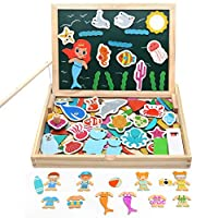 Akokie Wooden Jigsaw Puzzle Toys Magnetic White Board Games Double Sided Fishing Toys for kids Children Girls Boys Toys 3 4 5 6 Years Old