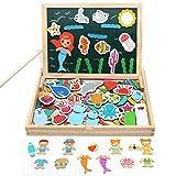 Akokie Lavagna Magnetica Bambini Gioco Pesca Pesci Puzzle Magnetico Gioco di Vestiti Puzzle Bambini 3 4 5 6 (Consegna Casuale di 2 Tipi)