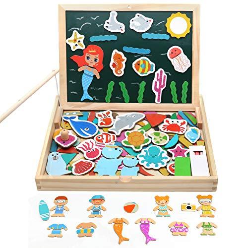 zles Puzzles, Holzpuzzle Tafel, Ankleiden, Doppelseitige Magnetische Angeln Spiel, Schreibtafel für Kind ab 3 Jahre , MEHRWEG ()
