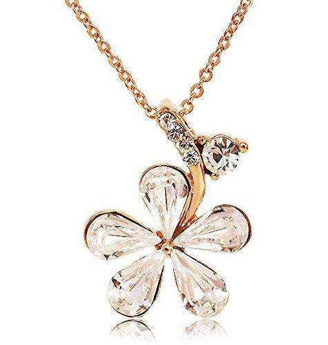 S¨¹?en Stil ?sterreich Clear Crystal Blumen-h?ngende Halskette, Kurze Halskette f¨¹r Frauen, M?dchen