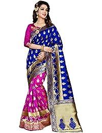 Wedding Villa Women's Banarasi Silk Saree With Blouse Piece (ANGAPEX529_BLUE_PINK_COLOUR)