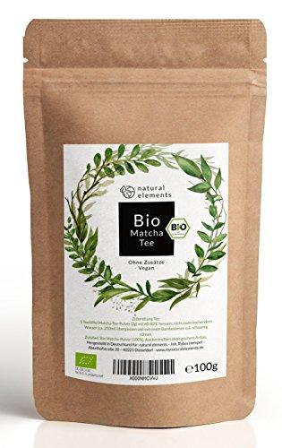 Bio Matcha-Tee Pulver 100g - Laborgeprüfter Bio-Matcha (DE-ÖKO-001) - Ohne Zusätze, rein natürlich & im wiederverschließbaren Beutel - Perfekt für Tee, Matcha-Latte & zum Backen -
