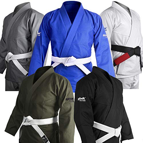 Brasilianischer Jiu Jitsu Gi BJJ Gi für Männer und Frauen Grappling Gi Uniform Kimonos Ultraleicht, vorgeschrumpft, inkl. weißem Gürtel !, Herren, grau, A1 (Patch Uniform Taekwondo)