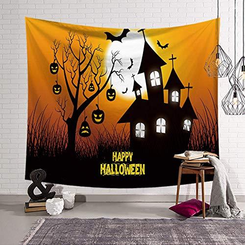 Rjjdd Halloween Fledermaus Tapisserie Wand Stoff Wandbehang Wandteppich Decke Tapisserien für Wohnzimmer Schlafzimmer Bauernhaus Dekor gelb-150X100cm (Mädchen Für Halloween-makeover)