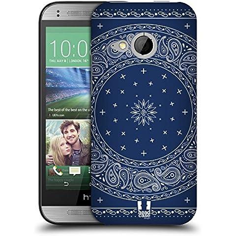 Head Case Designs Cerchio Blu Paisley Bandana Classica Cover Retro Rigida per HTC One mini 2