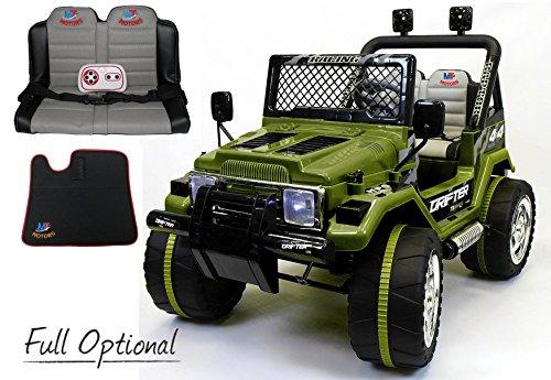 Mondial toys auto elettrica 12v drifter 2 posti per bambini con telecomando 2.4g soft start full optional verde militare