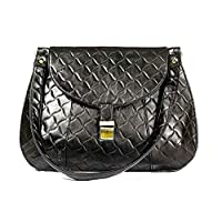 "CRAFAT 15"" Leather Black Light Wight Women and Girls Handbag"