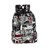 Fieans GarçOns Filles Unisexe Canvas Sac à Dos Backpack School Book Shoulder Bag pour Voyage, vacances, école ou au collège-Drapeau rouge noir...