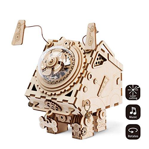 ROBOTIME Laser-Schnitt-hölzernes Puzzlespiel-DIY Mechanismus-Spieluhr-hölzernes Modell Gebäude-Geburtstags- und Weihnachtsgeschenke für Kinder und Erwachsene (Seymour)